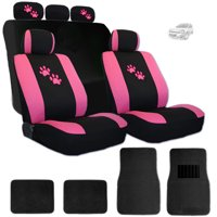 New Yupbizauto Pink Paws Car Truck SUV Seat Covers Headrest Covers and Carpet Floor Mats Gift Set - Shipping Included