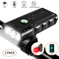 2Pack- IPX5 Waterproof Bike Headlight Rechargeable Bicycle Lights w/ free Taillight 3 LED 1000 Lumen Headlamp Flashlight Super Bright 3-Switch Modes Bike Front Light for Riding Cycling Hiking Camping