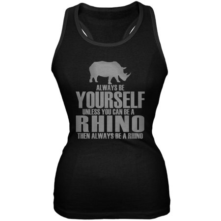 Rhino Soft Top - Always Be Yourself Rhino Black Juniors Soft Tank Top