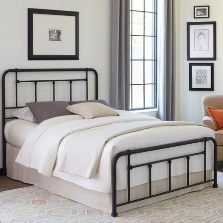Baldwin Complete Metal Bed and Steel Support Frame with Detailed Castings, Textured Black Finish, (Twin Complete Bed)
