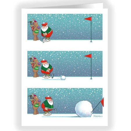 - Snowball Putting Christmas Card - Funny 18 Cards & Envelopes