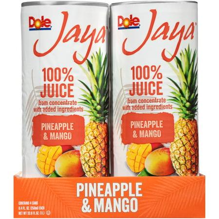 (6 Pack) Dole Jaya 100% Pineapple & Mango Juice 4-8.4 fl. oz. Cans