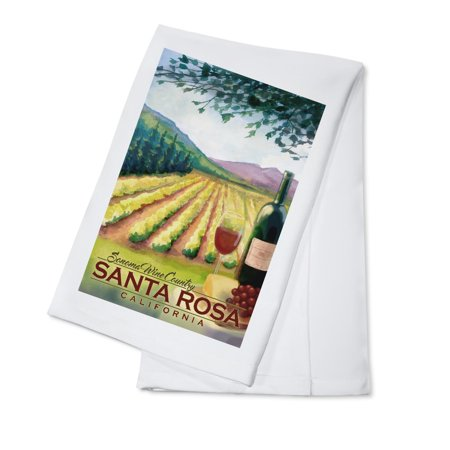 Santa Rosa, California - Sonoma County Wine Country - Lantern Press Artwork (100% Cotton Kitchen Towel)