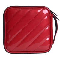 32 Capacity Square Shape Waterproof PU CD/ DVD Storage Wallet CD Storage Bag CD Organizer Case - Dark Red