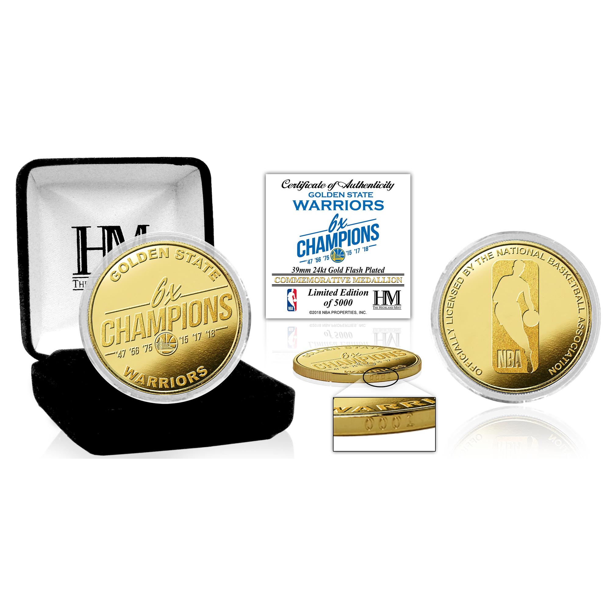 Golden State Warriors Highland Mint 2018 NBA Finals Champions Multi-Champs Gold Mint Coin - No Size