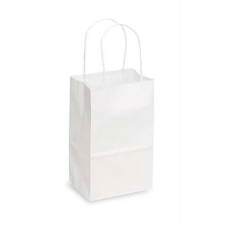 Small Recycled White Kraft Paper Shopping Bags With