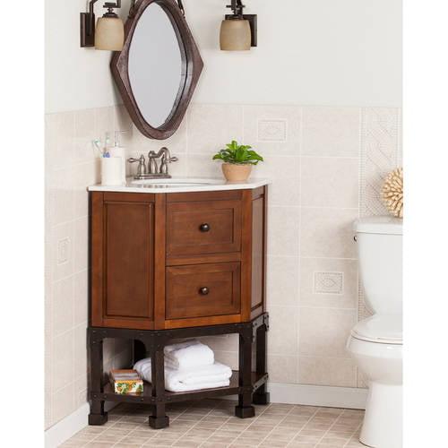 Southern Enterprises Cedale Corner Bath Vanity Single Sink With Granite Top Brown Cherry Walmart Com Walmart Com