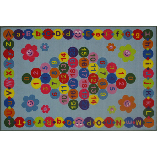 Fun Rugs Happy Learning Kids' Rug, Light Blue