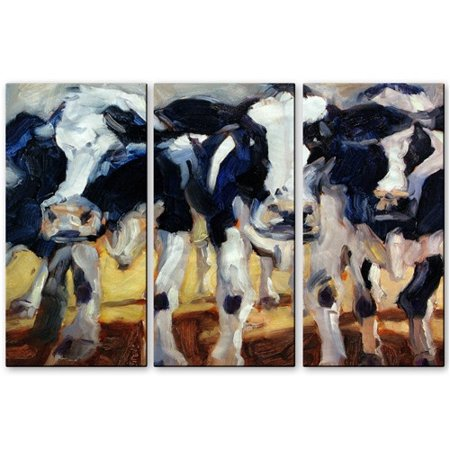 Image of All My Walls '3 Cows' by Brian Simons 3 Piece Painting Print Plaque Set