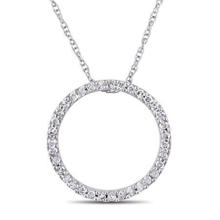 1/8 Carat T.W. Diamond 10kt White Gold Circle of Life Pendant, (Classic Diamond Circle Pendant)