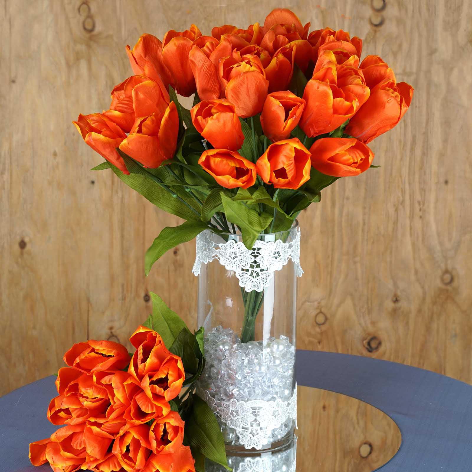 Efavormart 56 Tulips Artificial Artificial Wedding Flowers - 4 bushes