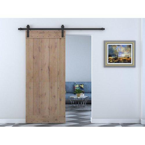 Calhome Paneled Wood Primed Alder Barn Door without Installation Hardware Kit