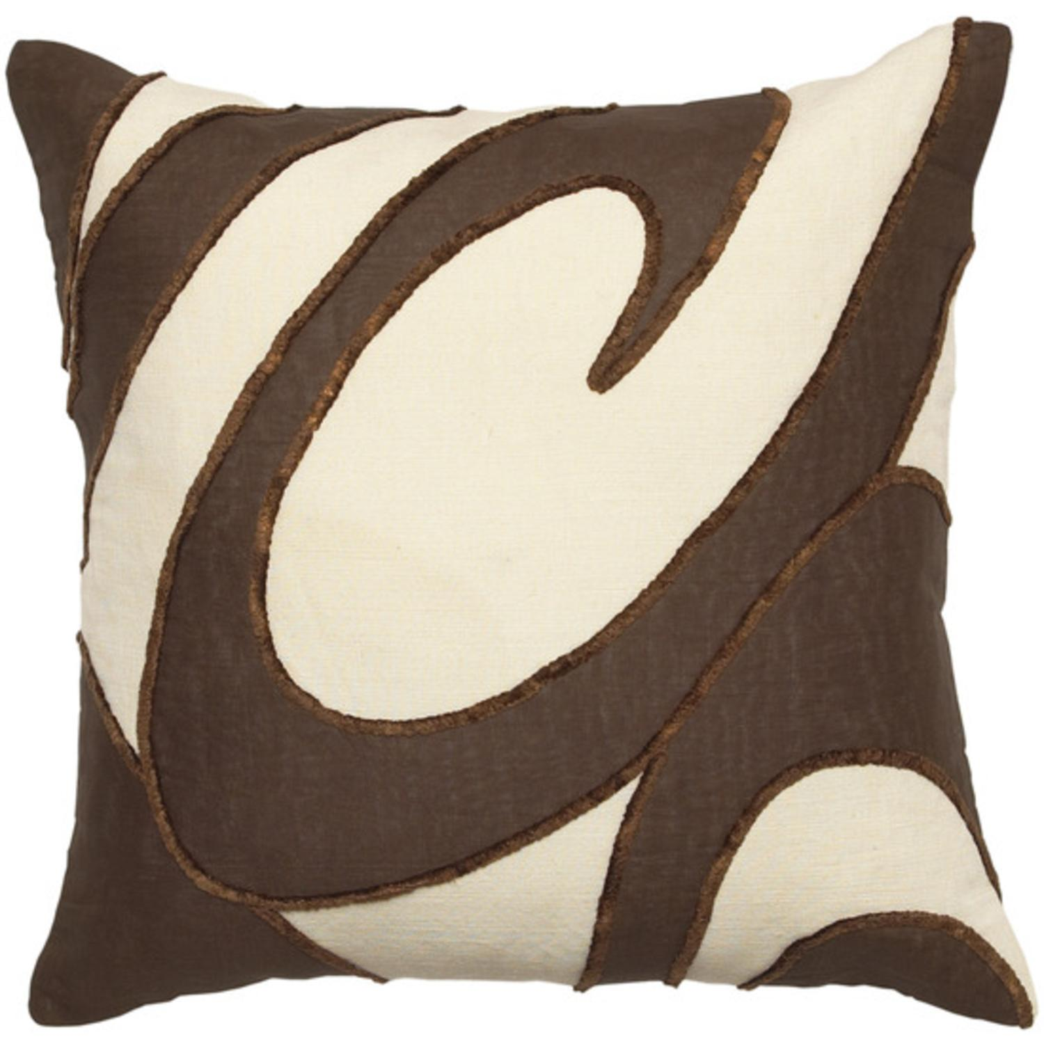 """22"""" Parchment and Coffee Bean Brown Swirl Pattern Decorative Throw Pillow"""