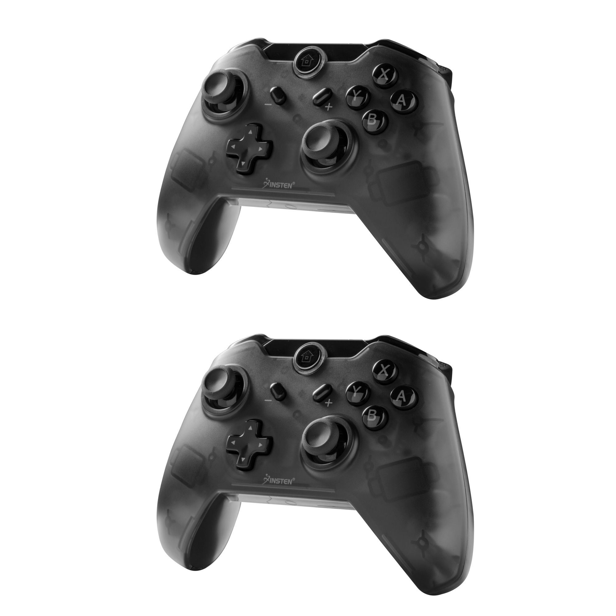 Insten 2-Pack Wireless Pro Controller with Micro USB Charge Cable For Nintendo Switch - Smoke Black