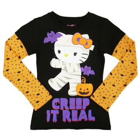 e60cc5ee8 Hello Kitty - Girls Black Creep It Real Halloween Long Sleeve T-Shirt ...