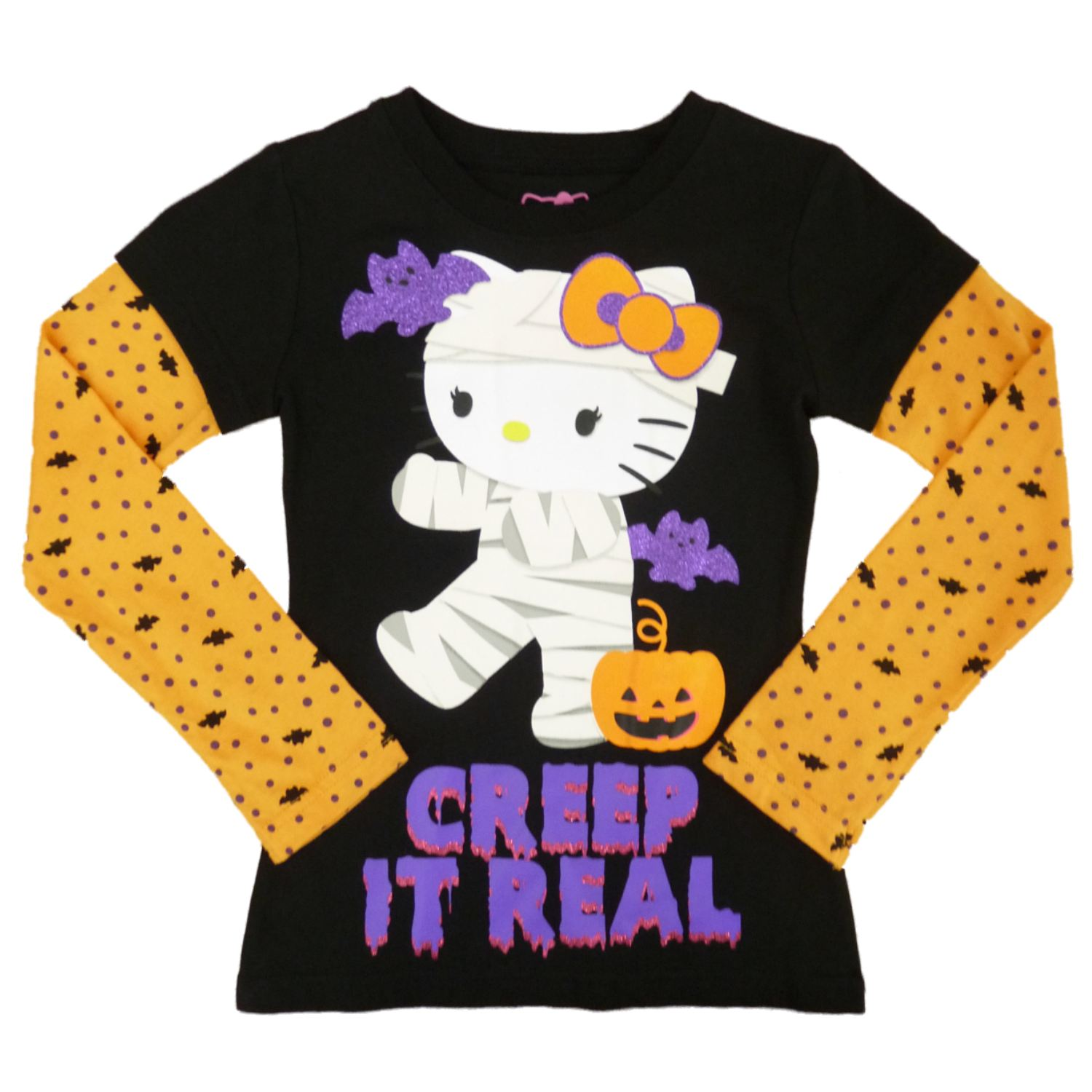Hello Kitty Girls Black Creep It Real Halloween Long Sleeve T-Shirt