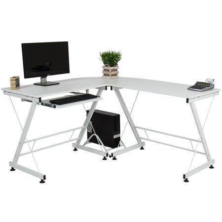 Best Choice Products Modular 3-Piece L-Shape Computer Desk Workstation for Home, Office w/ Wooden Tabletop, Metal Frame, Pull-Out Keyboard Tray, PC Tower Stand - White
