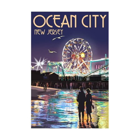 Ride Print Jersey - Ocean City, New Jersey - Pier and Rides at Night Print Wall Art By Lantern Press