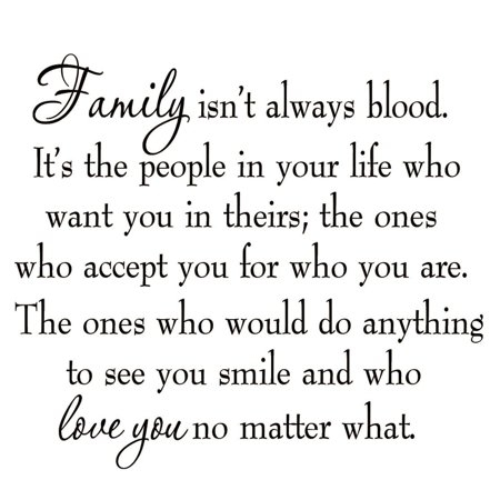 VWAQ Family Isn't Always Blood Wall Decal Saying Home Decor Stickers Quotes Vinyl