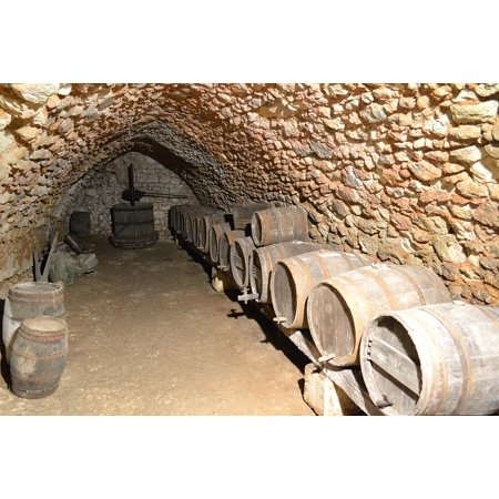 Castle French Wine - LAMINATED POSTER Wine Wine Press Castle France Cave Barrel Poster Print 11 x 17