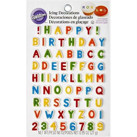 (4 Pack) Wilton Happy Birthday Letters and Numbers Icing Decorations, 68ct - Printable Happy Birthday Signs