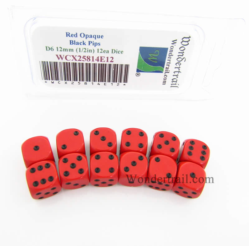 Red Dice with Black Pips D6 12mm (1/2in) Pack of 12 Wondertrail