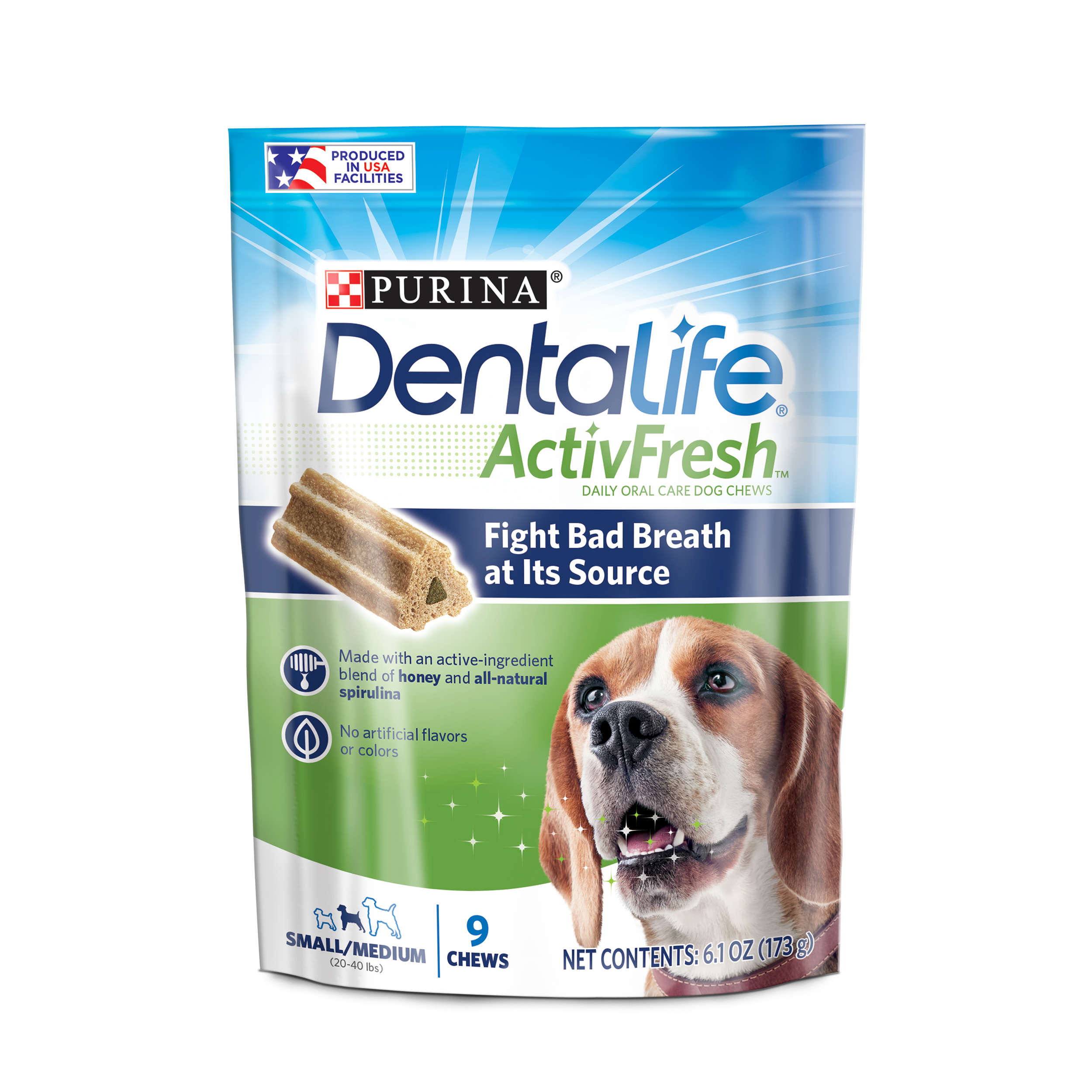 Purina DentaLife Small/Medium Breed Dog Dental Chews; ActivFresh Daily Oral Care Small/Medium Chews - 9 ct. Pouch