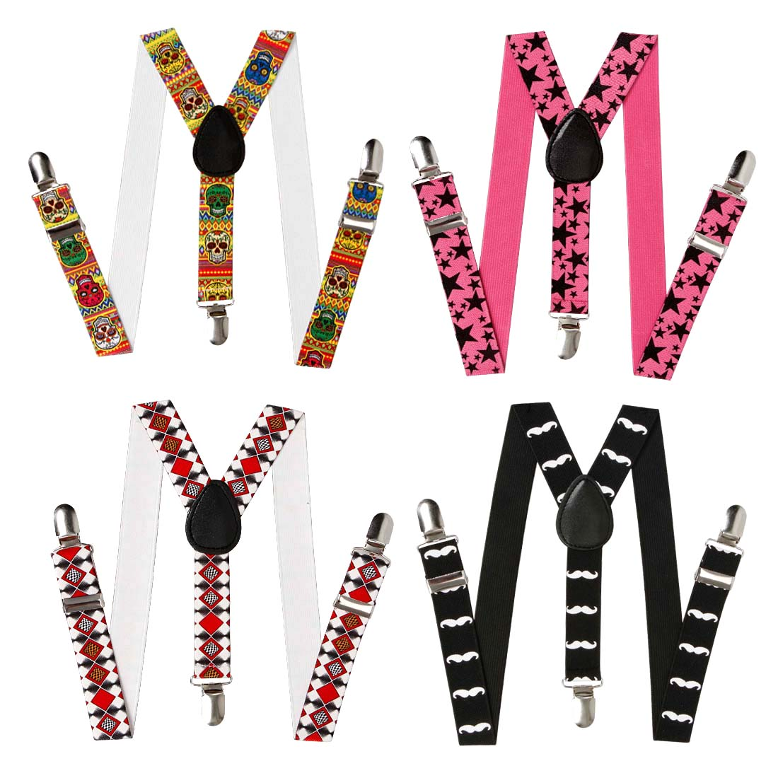 Bundle Monster Kids Skinny Braces Y-Back Adjustable Clip On Suspenders 4 Set