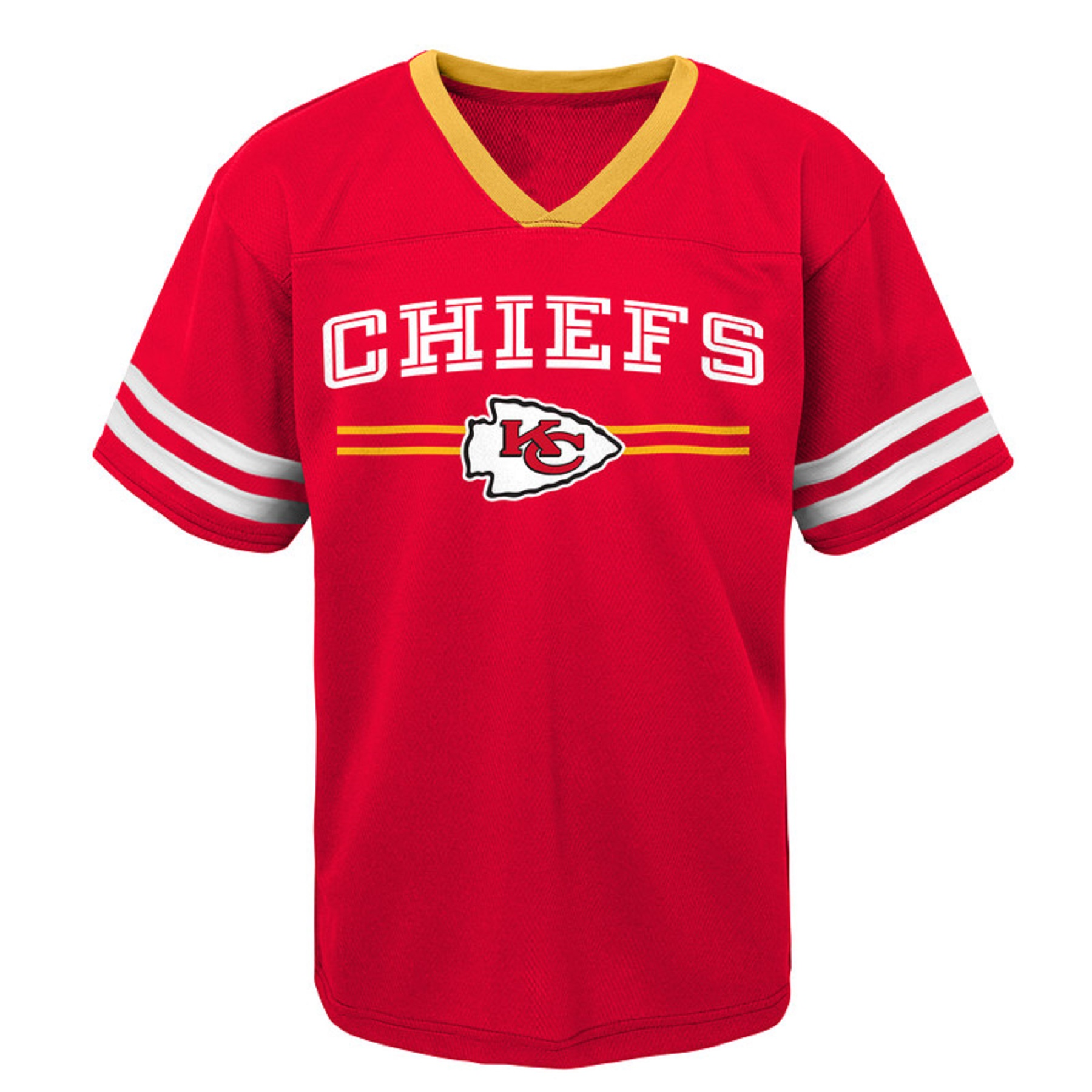 Youth Red Kansas City Chiefs Mesh V-Neck T-Shirt