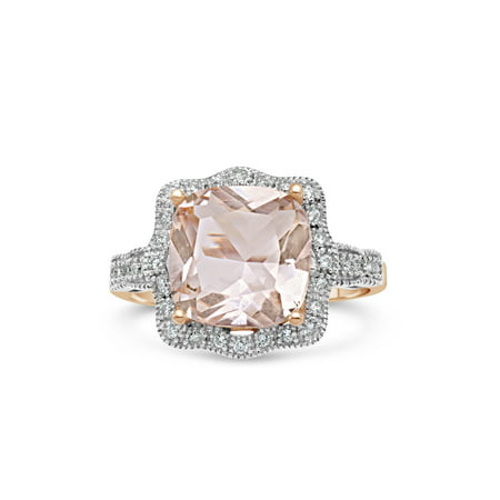Scalloped Edge Ring (10mm Cushion-Cut Simulated Morganite with White CZ 18kt Rose Gold over Sterling Silver Square Scalloped Halo)