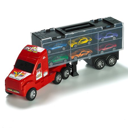 "15"" Carrier Truck Toy Car Transporter Includes 6 Metal Cars Toy For Boys Great Christmas Gift For Boys"
