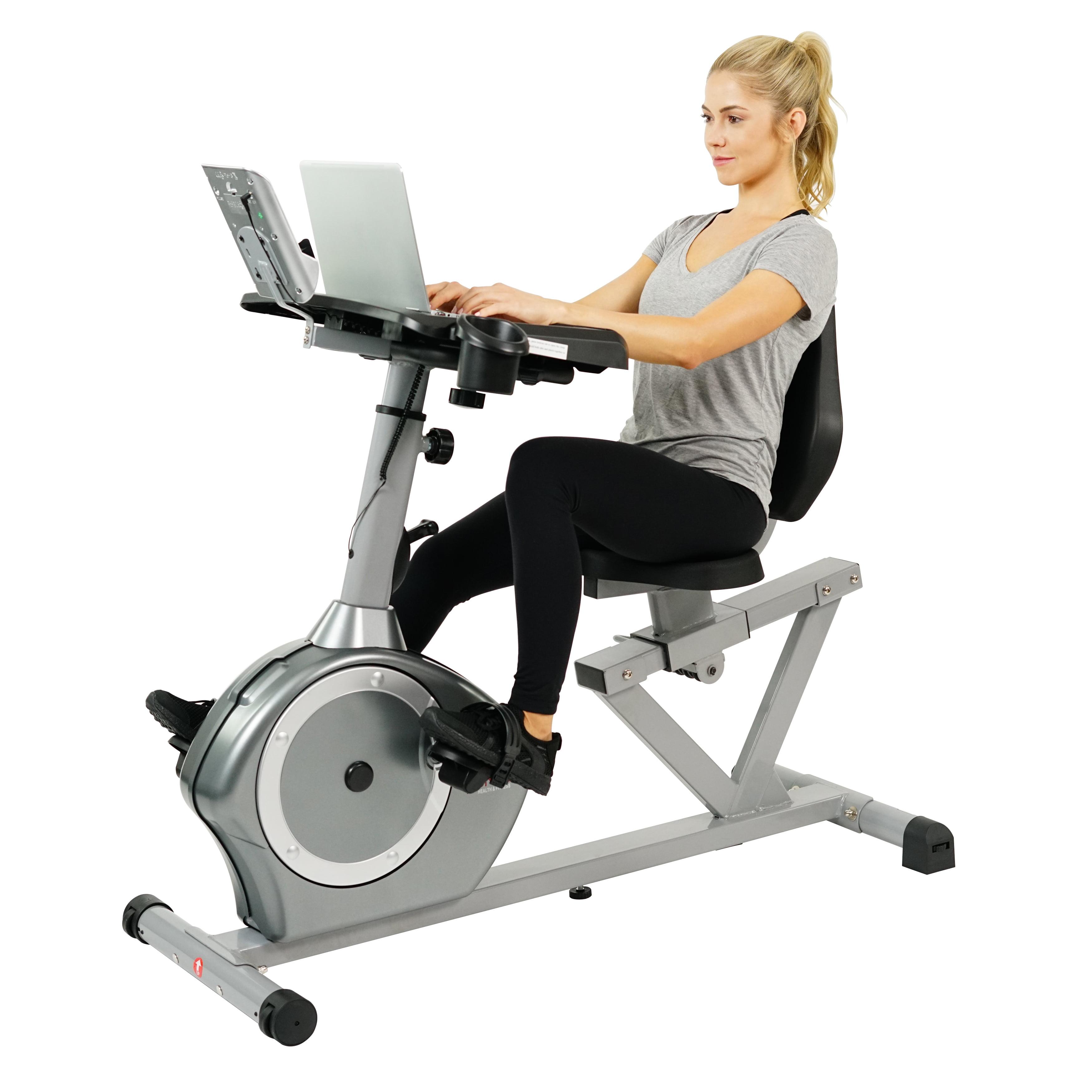 sunny health u0026 fitness recumbent desk exercise bike with adjustable magnetic resistance belt drive