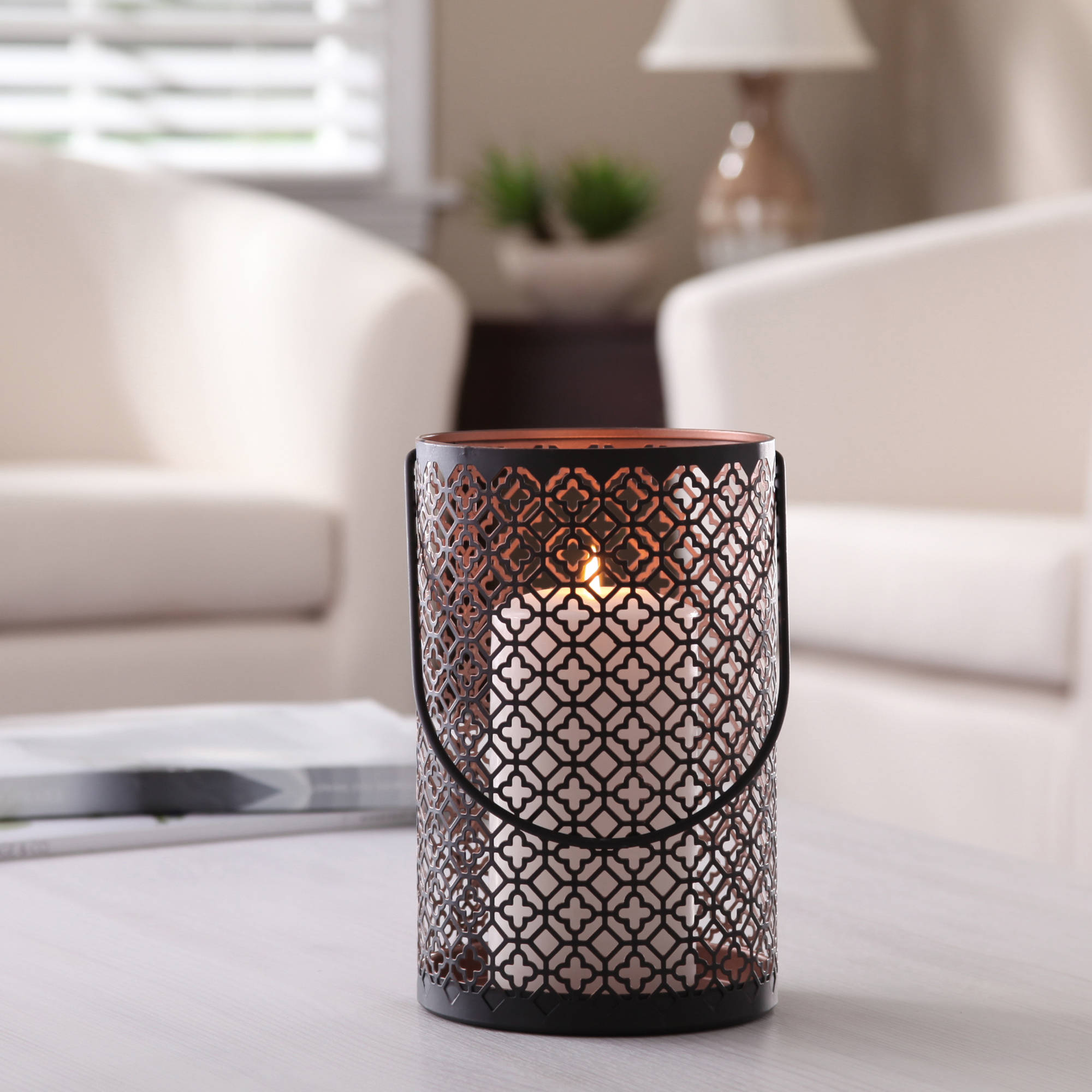 Better Homes and Gardens Quatrefoil Lantern, Two-tone Black and Bronze