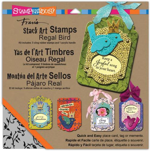 Stampendous Stack Art Cling Stamp Kit 6/Pkg-Regal Bird