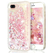 """For iPhone 8 Plus 5.5"""" Pink Floating Hearts Liquid Waterfall Sparkle Glitter Quicksand Case"""