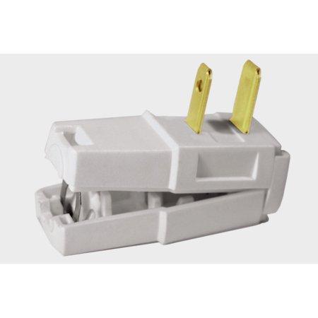 New LEVITON White Nylon Non Polarized ANGLE PLUG 15 Amp 125 Volt C22 0