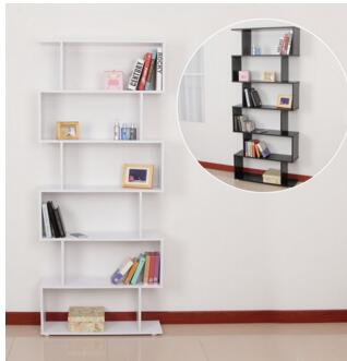 6-Shelf Modern Wooden Bookcase,Cabinet Room Divider Furniture for Home and Office