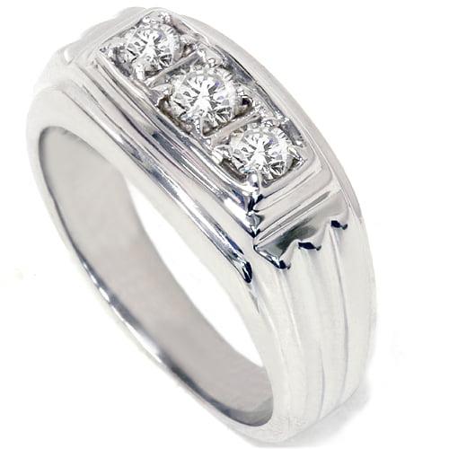 3 4ct Diamond Mens 14K White Gold Wedding Ring by Pompeii3