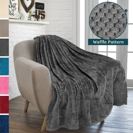 Premium Flannel Fleece Throw Blanket For Sofa Couch | Waffle Textured Soft Fuzzy Throw | Warm Cozy Microfiber | Lightweight, All Season Use | 50 x 60 (Best Natural Fiber Blanket)