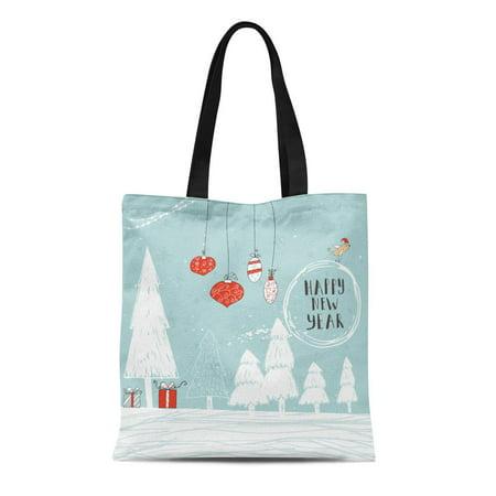 SIDONKU Canvas Tote Bag Christmas Text Tree and Presents on Winter Snow Snowflakes Reusable Shoulder Grocery Shopping Bags Handbag