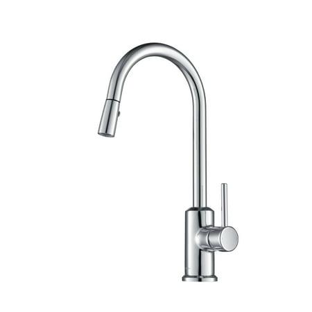 Stufurhome Brighton Kitchen Faucet w/ Spray Head Gooseneck Chrome Single Lever Mixer