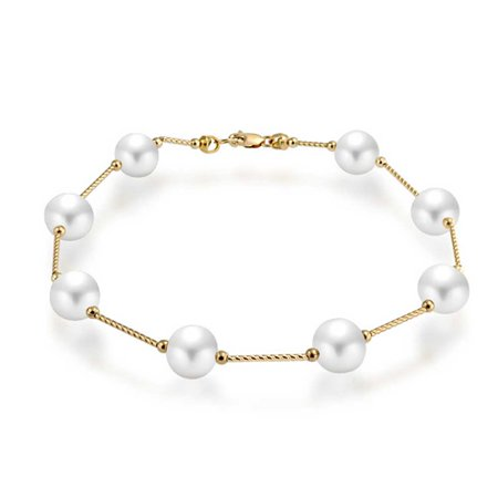 14K Real Yellow Gold Bar Link Tin Cup White Freshwater Cultured Pearl 7.5MM Bracelet For Women 7 Inch - image 1 de 5