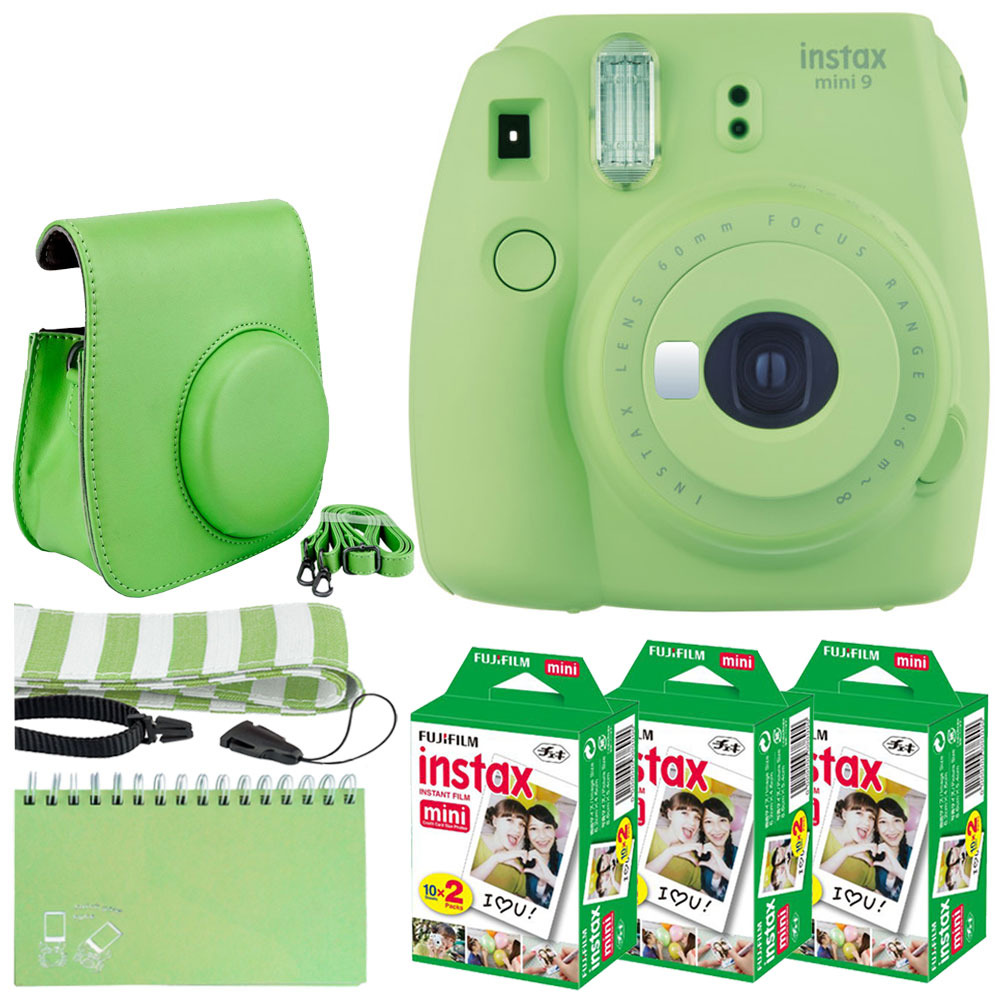 Fujifilm instax mini 9 Instant Film Camera (Lime Green) + Fujifilm Instax Mini Twin Pack Instant (60 Shots) + Scrapbook Album 60 Pockets + Striped Neck Strap + Case with Button Closure – Full Bundle