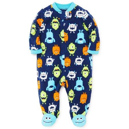 Baby Pajamas Winter Fleece Sleepers Blanket Sleeper With Feet Footie Monster Blue 12 Month