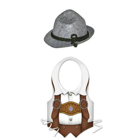 Oktoberfest Bavarian Lederhosen Plastic Vest Bayern Alpine Hat Costume Kit - Bavarian Hat