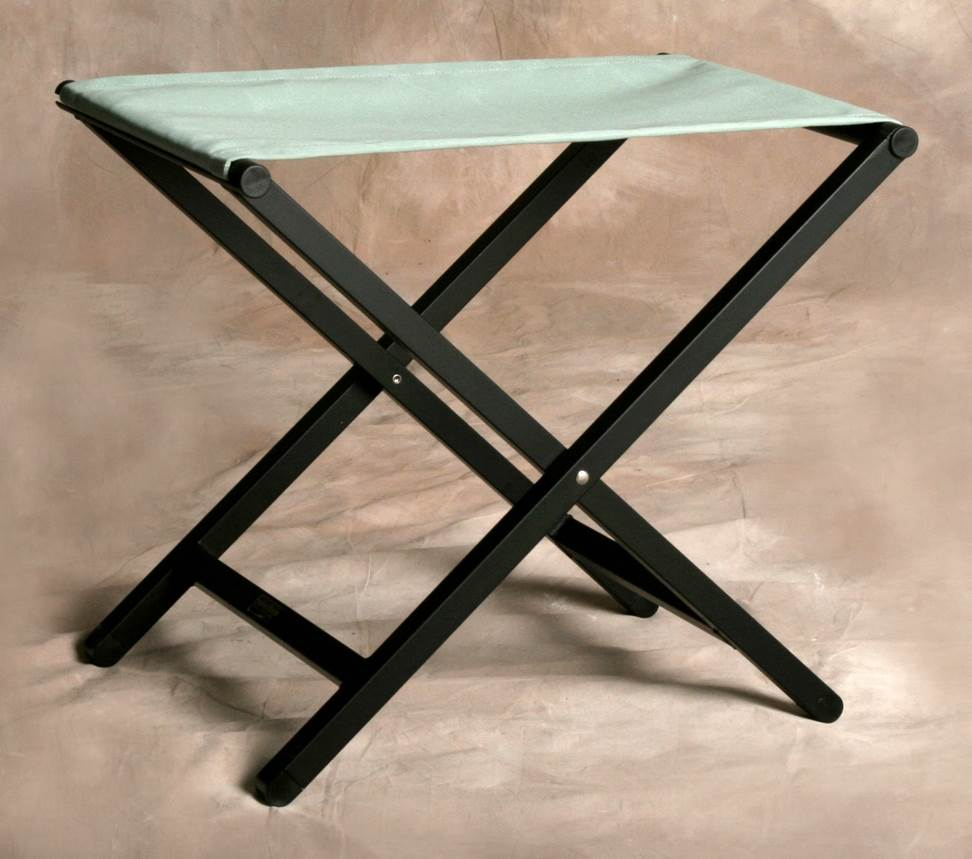 Director Style Small Footstool with Aluminum Frame in Spa by Sutton Bridge