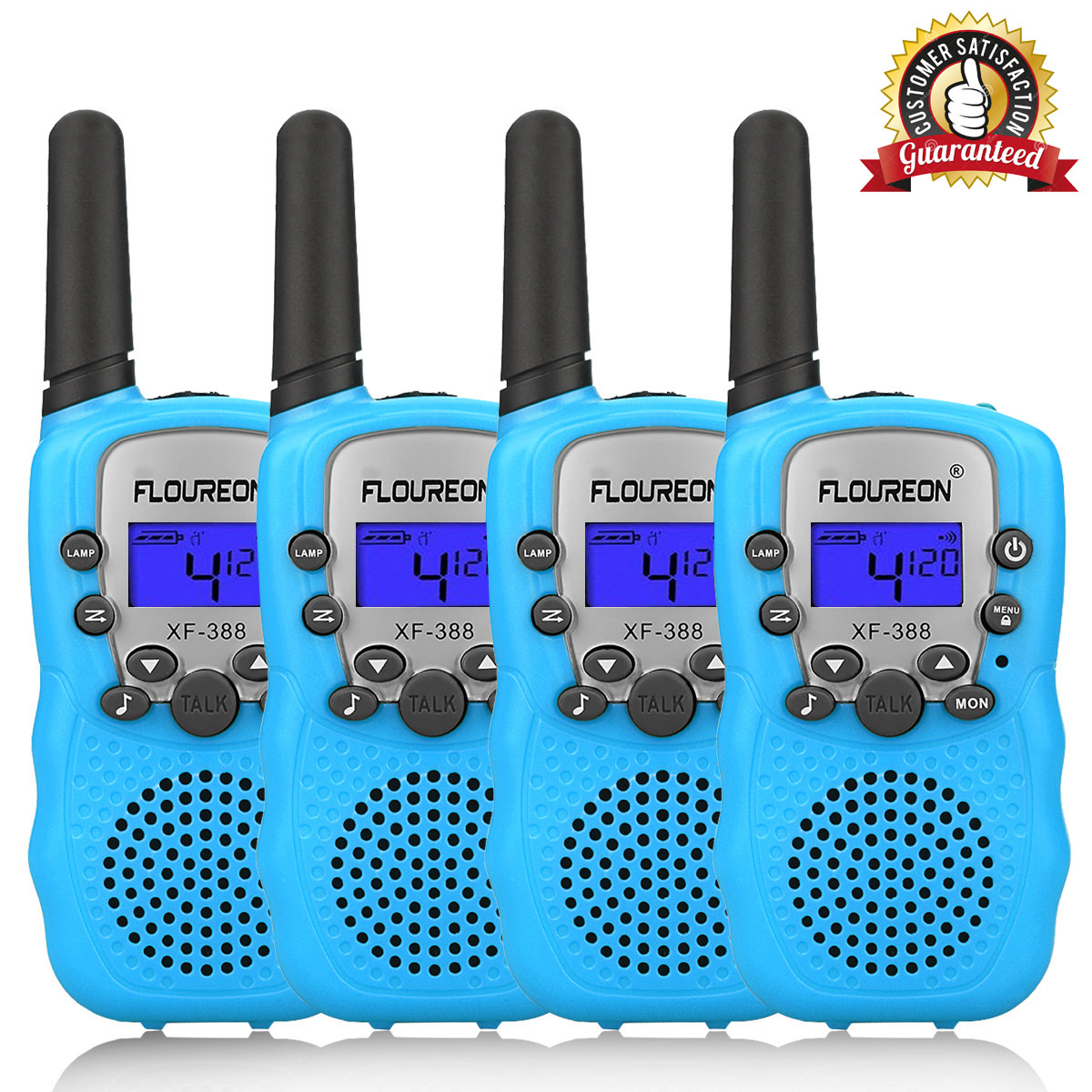 Walkie Talkies for Kids, FLOUREON 22 Channel Two-Way Radio Best for Kids Long Range 3000M Handheld Outdoor Interphone/Portable Toy Radio Transceiver(4 Packs)