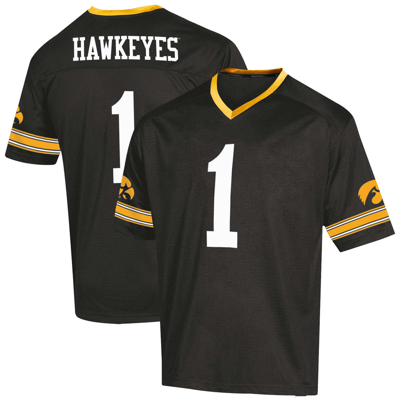Youth Russell Black Iowa Hawkeyes Replica Football Jersey