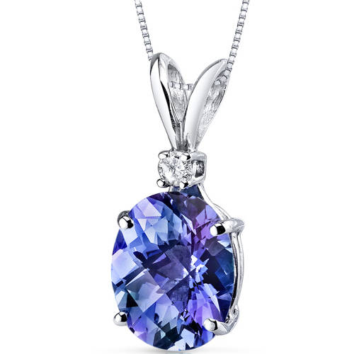 Oravo 3.25 Carat T.G.W. Oval-Cut Created Alexandrite Diamond Accent 14kt White Gold Pendant, 18""