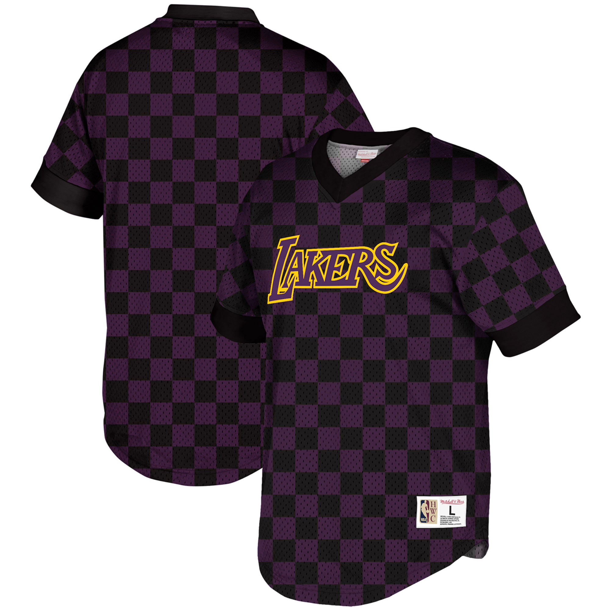Los Angeles Lakers Mitchell & Ness Hardwood Classics Wordmark Mesh V-Neck Pullover Shooting Shirt - Black